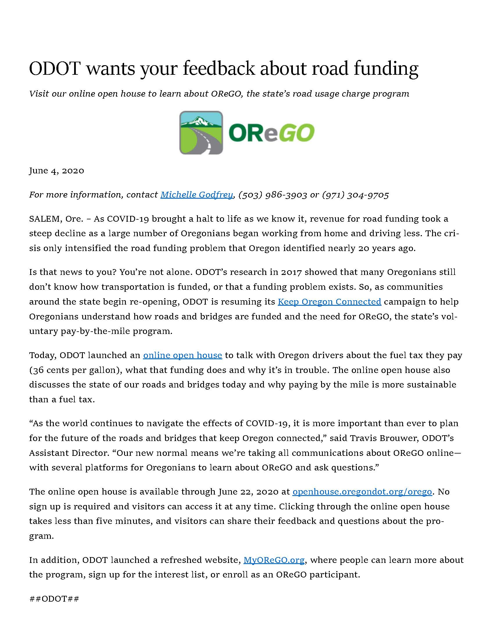 ODOT feedback re  road funding